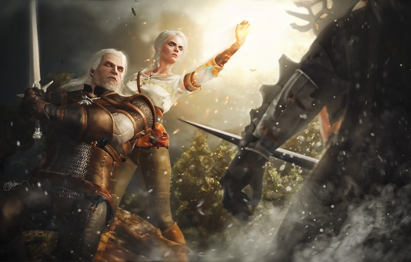 Picture sword, art, battle, fight, The Witcher, The Witcher, art, Geralt, Game, Geralt of Rivia, Gwynbleidd, …