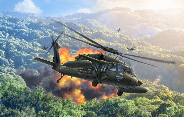 Picture Sikorsky, Black Hawk, Black hawk, American multi-purpose helicopter, US army, UH-60A