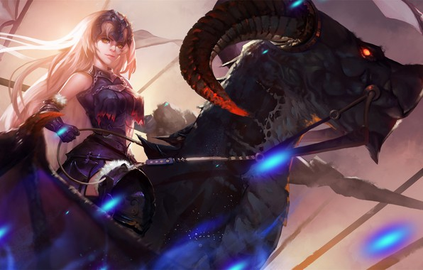 Picture girl, fantasy, horns, armor, anime, red eyes, rider, dragon, artist, digital art, artwork, warrior, drawing, …