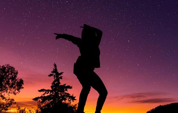 Picture dark, girl, twilight, sky, trees, woman, sunset, stars, mood, dancing, silhouette, posing, starry sky, moods, …