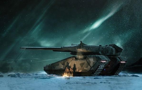 Picture Winter, Night, Stars, Snow, The fire, Soldiers, Lights, Art, Tank, Art, Game, Tank, Transport, Star …