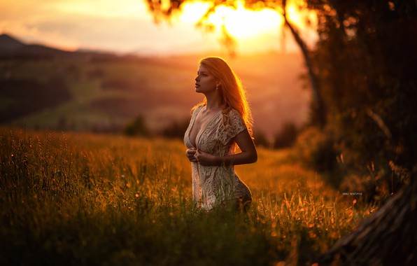 Picture field, girl, sunset, model, beautiful, Miki Macovei Come With
