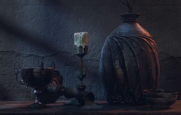 Picture art, still life, Pablo Munoz Gomez, Pottery Scene