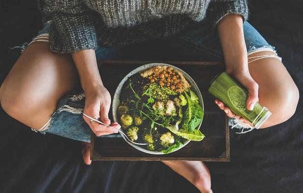 Picture juice, woman, salad, healthy food, broken jeans