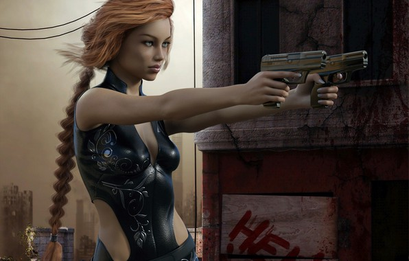 Picture girl, weapons, guns