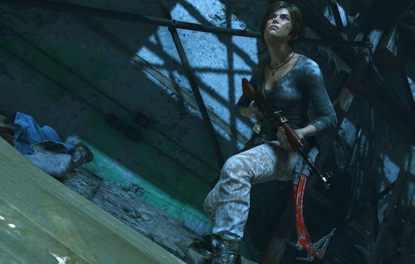 Picture Girl, Look, Weapons, Tomb Raider, Machine, Square Enix, Game, Lara Croft, Ice pick