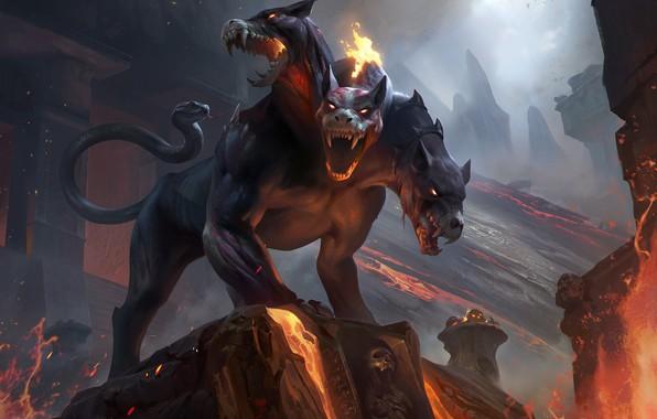 Picture look, fire, fantasy, art, lava, Cerberus, три головы