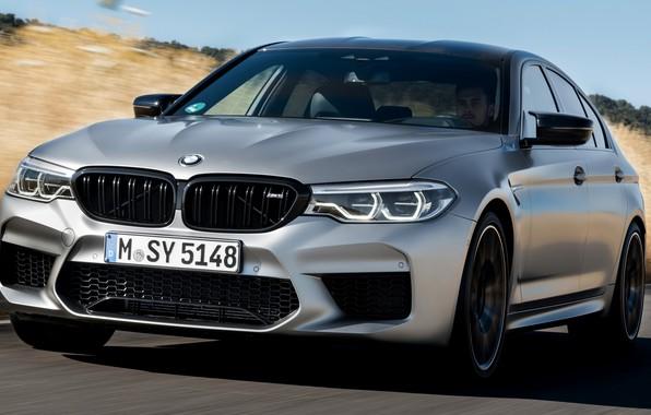 Picture field, the sky, grass, asphalt, grey, shadow, BMW, sedan, 4x4, 2018, four-door, M5, V8, F90, …