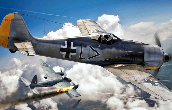 Picture RAF, Air force, Fw-190, Mosquito, Jagdgeschwader 26, Stab./JG26, Fw.190A-2, Erwin Leibold