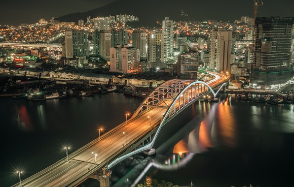 Picture night, the city, South Korea, Busan