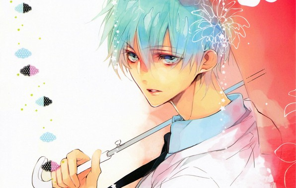 Picture look, umbrella, handle, tie, guy, blue hair, art, kuroko tetsuya, Kuroko's basketball, sideways, No Basuan …