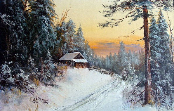 Picture the sky, trees, oil, hut, picture, painting, canvas, rural landscape, Alexander Lednev, A winter afternoon