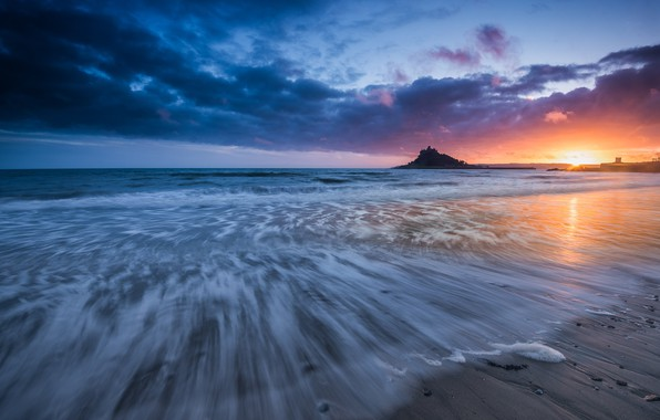 Picture sea, sunset, England, England, Cornwall, Cornwall, Mounts Bay, Mount's Bay