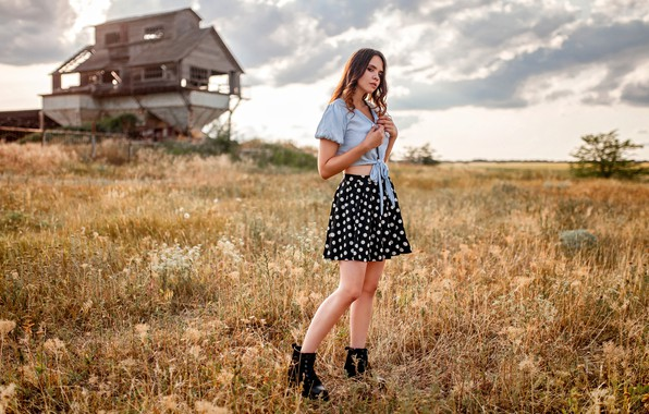 Picture grass, look, clouds, nature, pose, model, skirt, portrait, makeup, shoes, figure, hairstyle, brown hair, topic, …