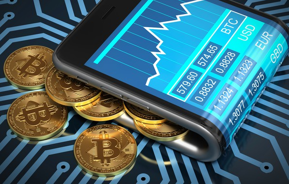 Picture smartphone, smartphone, coins, bitcoin, bitcoin, btc