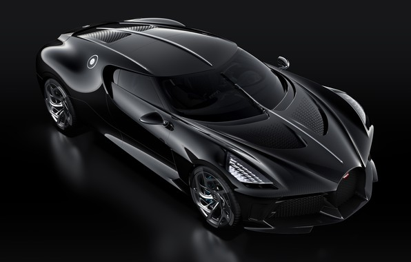 Picture machine, black, lights, Bugatti, stylish, hypercar, The Black Car