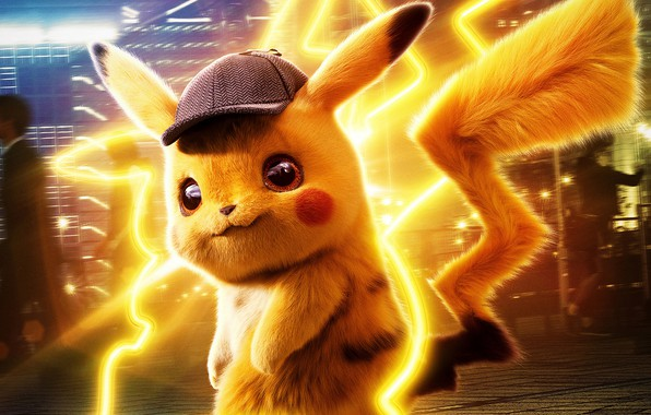 Picture yellow, fiction, cap, Pikachu, detective, Pokémon Detective Pikachu, Pokemon. Detective Pikachu