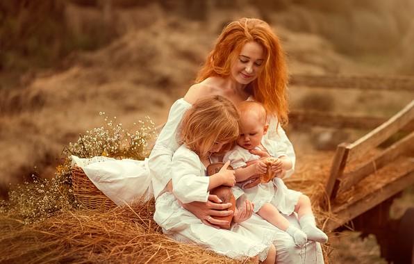 Picture nature, children, people, basket, woman, hay, grass, mom, mother, pie, pot, Ekaterina Borisova