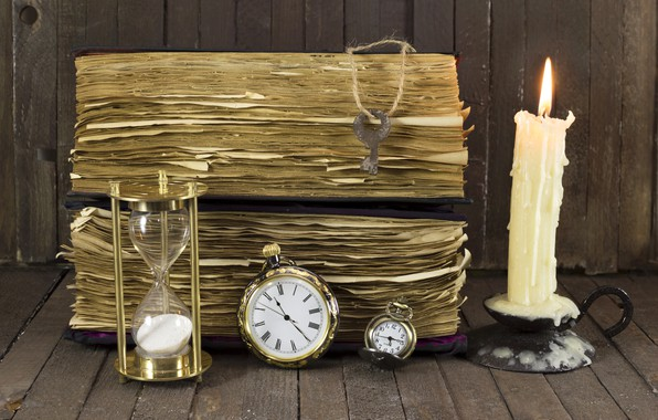 Picture old, watch, candle, key, book, hourglass