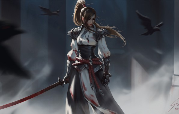 Picture look, girl, birds, weapons, warrior, fantasy, art, Raven