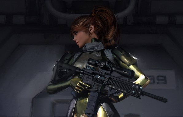 Picture soldiers, machine, red, sight, equipment, art, the vest, shoulders, woman warrior, Hlzz D