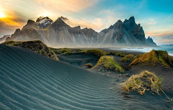 Picture sand, sea, clouds, landscape, mountains, strip, rocks, hills, shore, vegetation, tops, hill, dunes, Iceland, Sands, …