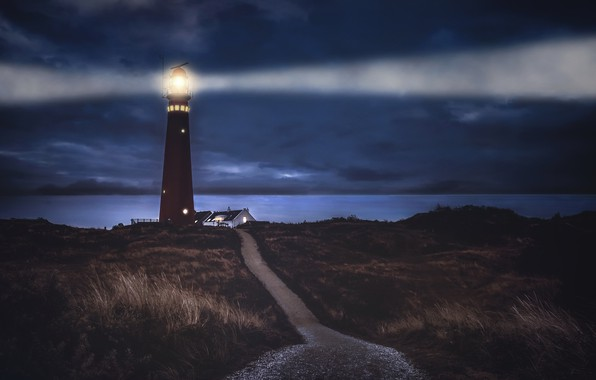 Picture night, shore, lighthouse