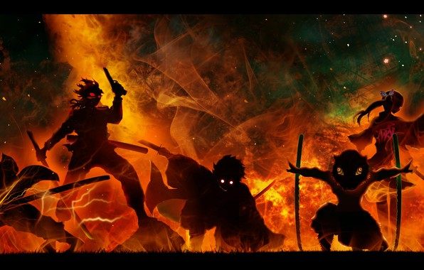 Picture weapons, fire, flame, zipper, katana, characters, burning eyes, in the dark, evil eye, black silhouette, …