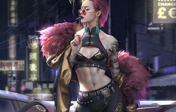 Picture girl, fantasy, cleavage, smoking, pink hair, tattoo, cigarette, digital art, artwork, belly, fantasy art, sunglasses, …