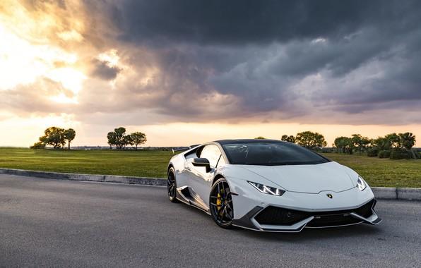 Picture Lamborghini, Clouds, Sky, Silver, VAG, Performante, Huracan