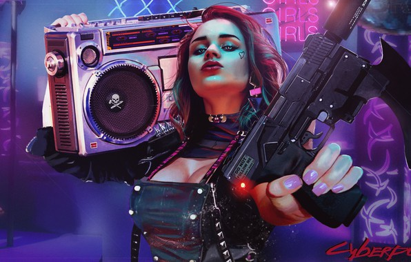 Picture purple, chest, girl, blue, weapons, background, graphics, Photo, Girls, texture, player, Fiction, Cyber, fantastic, ski …