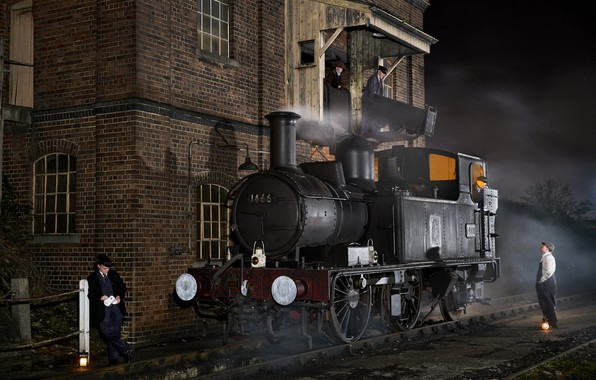 Picture retro, the engine, depot