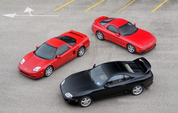 Picture Red, Black, Toyota Supra, Mazda RX-7, Honda NSX