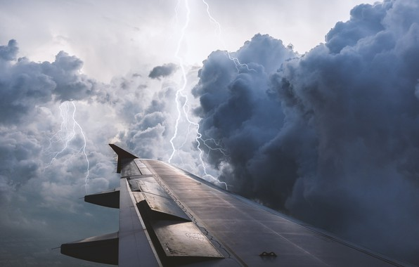 Picture the storm, the sky, clouds, flight, clouds, the plane, rendering, lightning, wing, the plane, flies, …