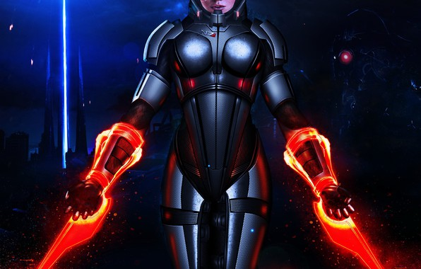 Picture girl, armor, Mass Effect, Shepard, N7, sentiel, energy swords