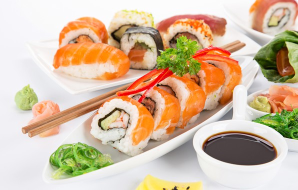 Picture fish, sauce, sushi, sushi, fish, rolls, seafoods