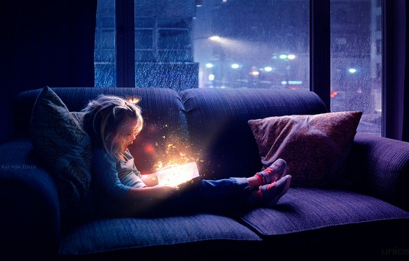 Picture butterfly, night, magic, window, girl, book