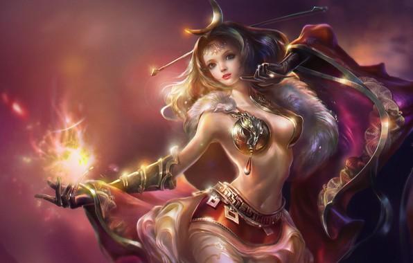 Picture magic, magic, the enchantress, legends, beautiful girl, фантазийный арт, густые волосы, огонь в руке