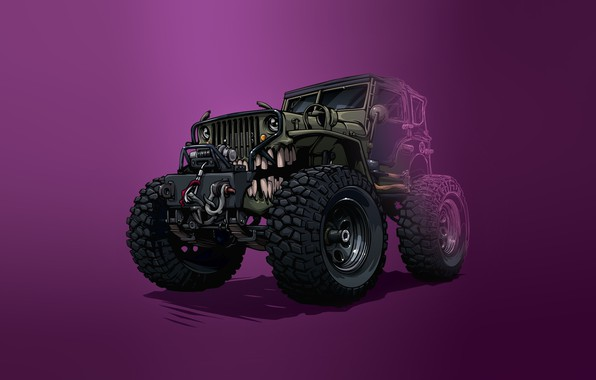 Picture Auto, Minimalism, Machine, Teeth, Background, Car, Art, Illustration, Transport, Jeep, Grin, Vehicles, Creatures, Transport, Transport …