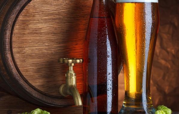 Picture foam, beer, barrel, hops