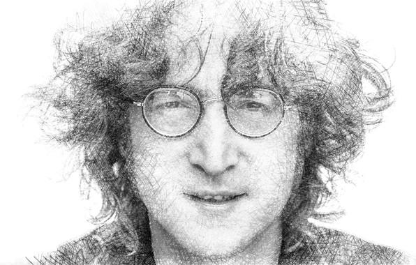 Picture portrait, glasses, musician, John Lennon, The Beatles