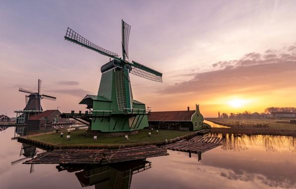 Picture dawn, morning, mill, Netherlands, Zaanse Schans