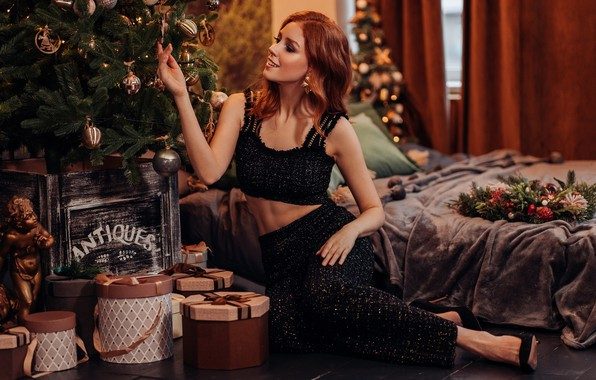 Picture girl, pose, mood, gifts, New year, red, tree, redhead, Альбина Пономарева