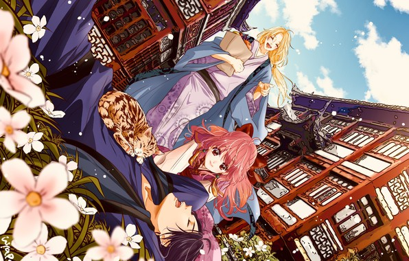 Picture stay, sleep, package, kimono, flowers, friends, smile, Palace, Dawn Yona, Yona, Akatsuki no Yona, Soo-won, …