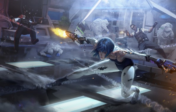 Picture girl, fiction, Weapons, guys, Games, the fire, Cyberpunk, Cyber hunter