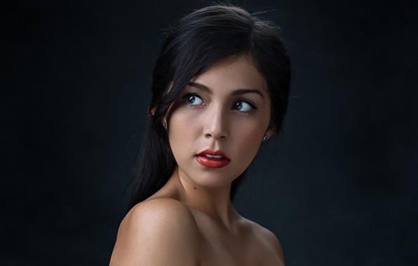 Picture girl, long hair, photo, photographer, model, lips, brunette, black hair, portrait, mouth, red lipstick, open …