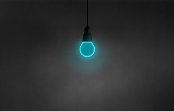 Picture light bulb, minimalism, blue, hanging