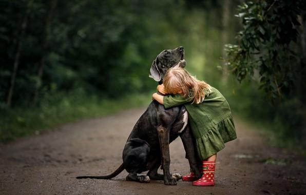 Picture nature, dog, dress, hugs, girl, boots, baby, child, dog, Svetlana Shelemeteva