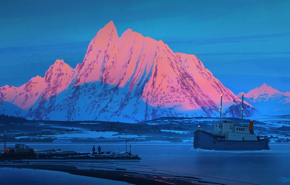 Picture twilight, sea, landscape, nature, lightning, sunset, art, mountain, snow, people, truck, artist, ship, digital art, …