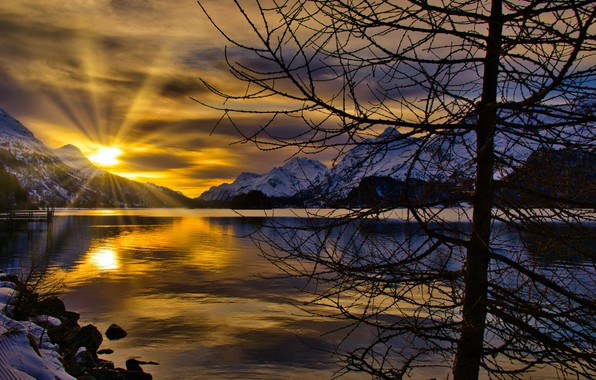 Picture winter, the sun, rays, trees, landscape, sunset, mountains, nature, lake, Switzerland